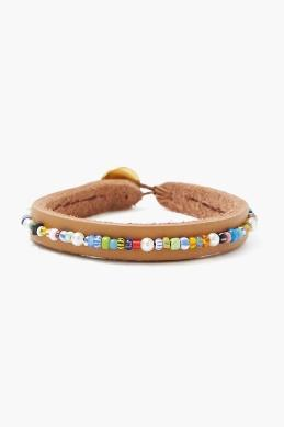 Chan Luu 1-Line Beaded Bracelet on Leather