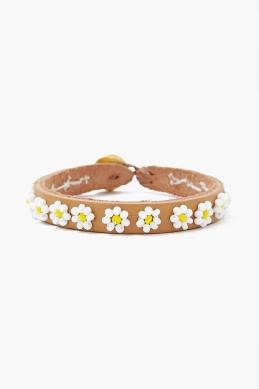 Chan Luu Beaded Flower Bracelet on Leather