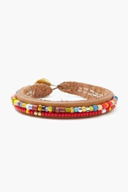 Chan Luu 2-Line Beaded Bracelet on Leather