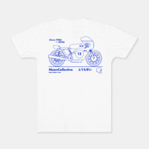 Motorcyle Moon White Tee - M & L