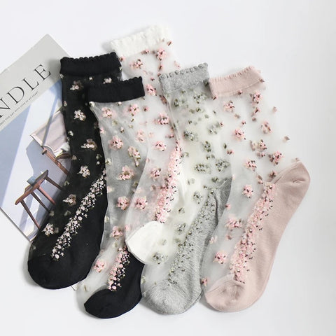 Women's Anklet Lace Rose Flower Socks