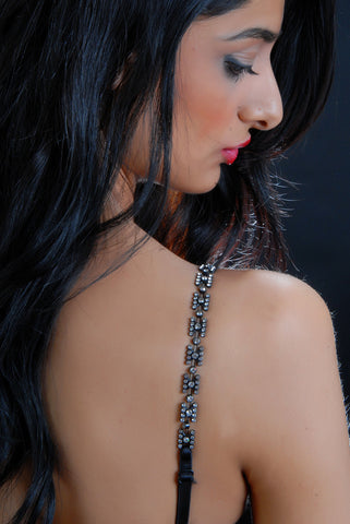 SAVOIR FAIRE - Black and Rhinestone Beaded Bra Straps
