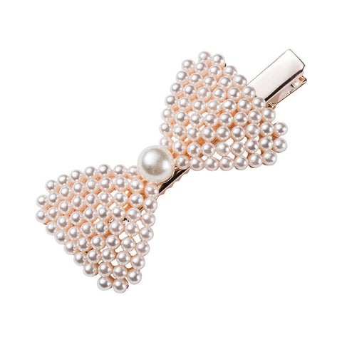 Gold Vintage Faux-Pearl Hair Clip For Women