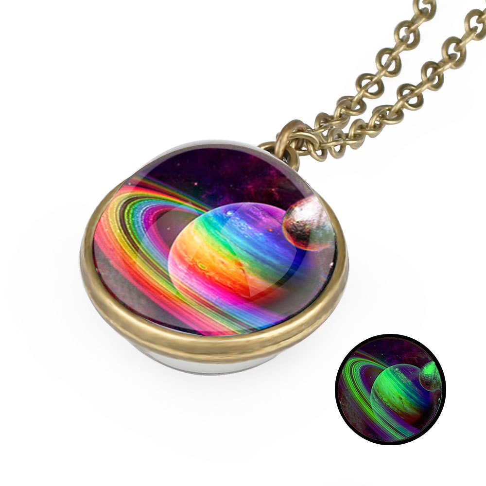 LGBT Pride Gay Planet Glass Pendant Necklace