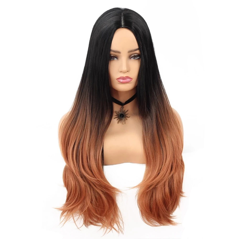 Ombre Black to Brown Wig