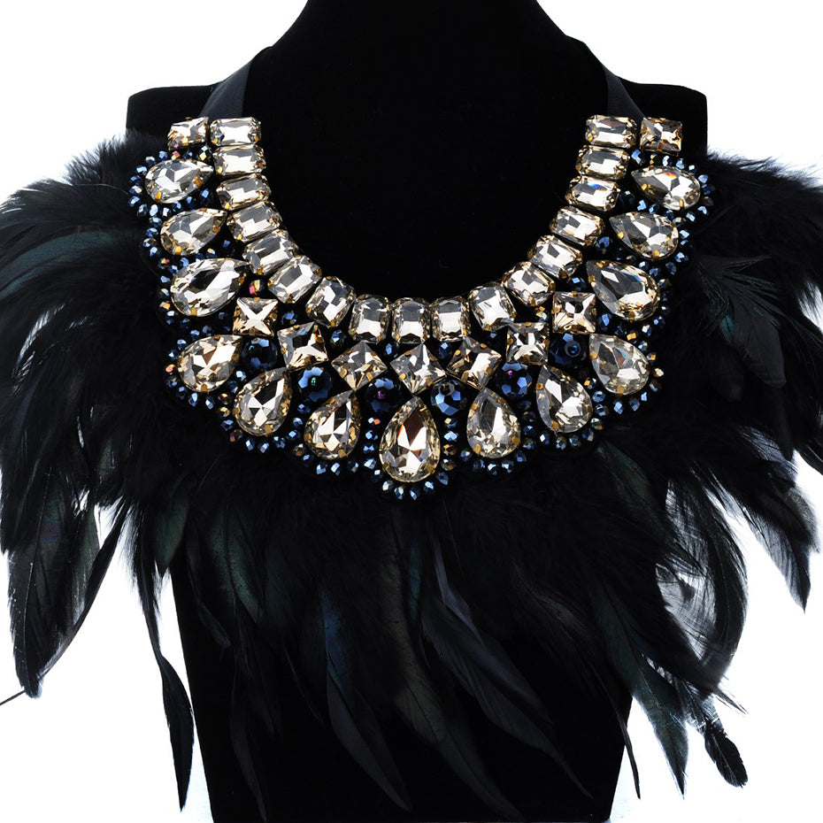 Drag Queen Lux Feather Crystal Necklace