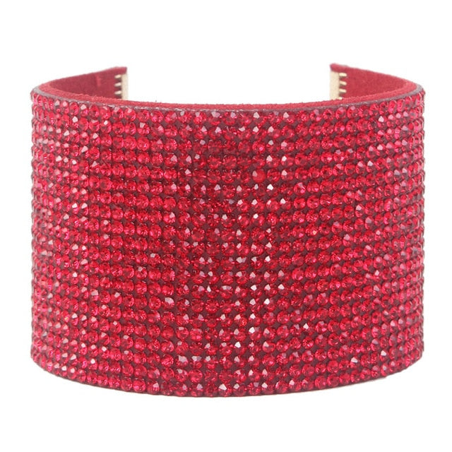 Drag Queen Wide Rhinestones Leather Bracelet