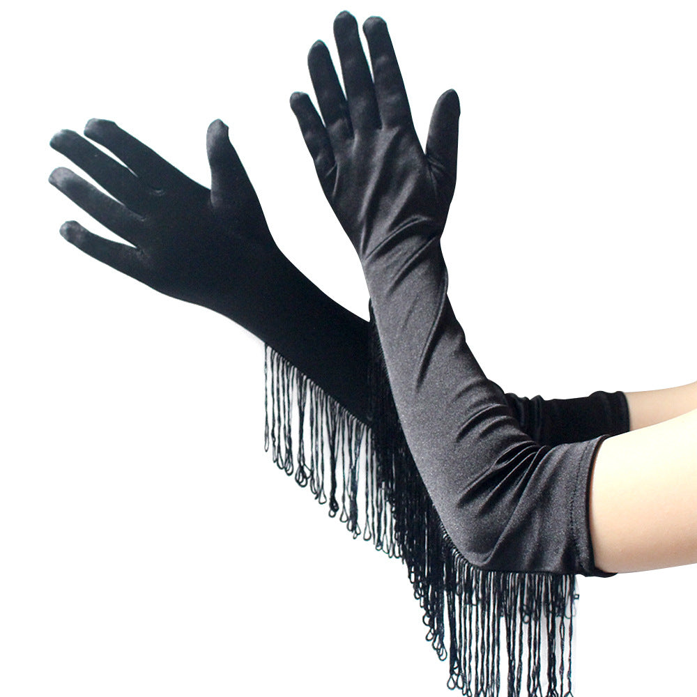 Drag Queen Long Satin Tassel Gloves