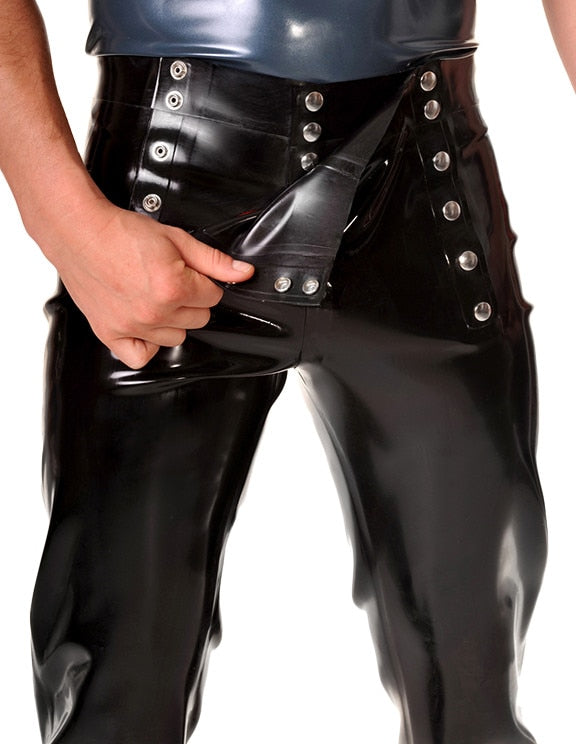 Men's Latex Trousers w/ Snap Fasteners