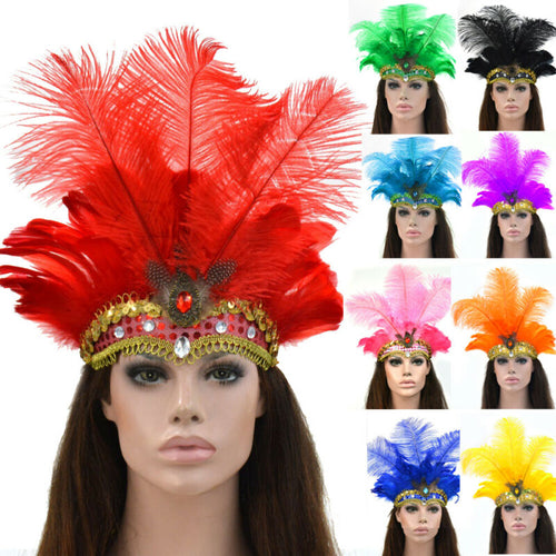 Drag Queen Crown Feather Headpiece