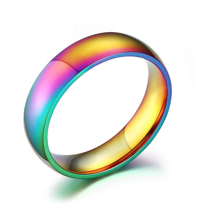 LGBT Gay Lesbian Pride Stainless Steel Rainbow Ring