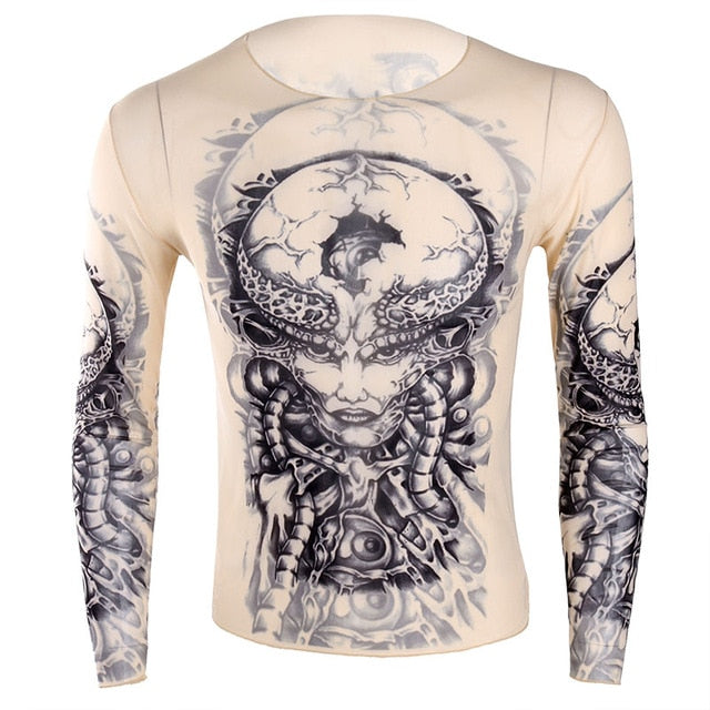 Long Sleeves Fake Tattoo T-Shirt