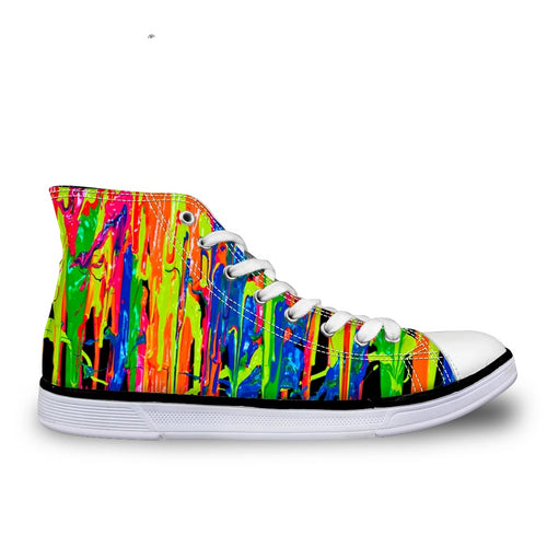 LGBTQ+ Pride Rainbow Paint Drip Canvas Sneakers