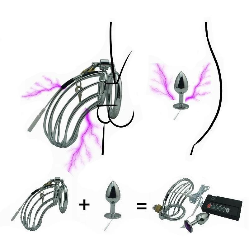 Electro Shock Chastity Cage Set