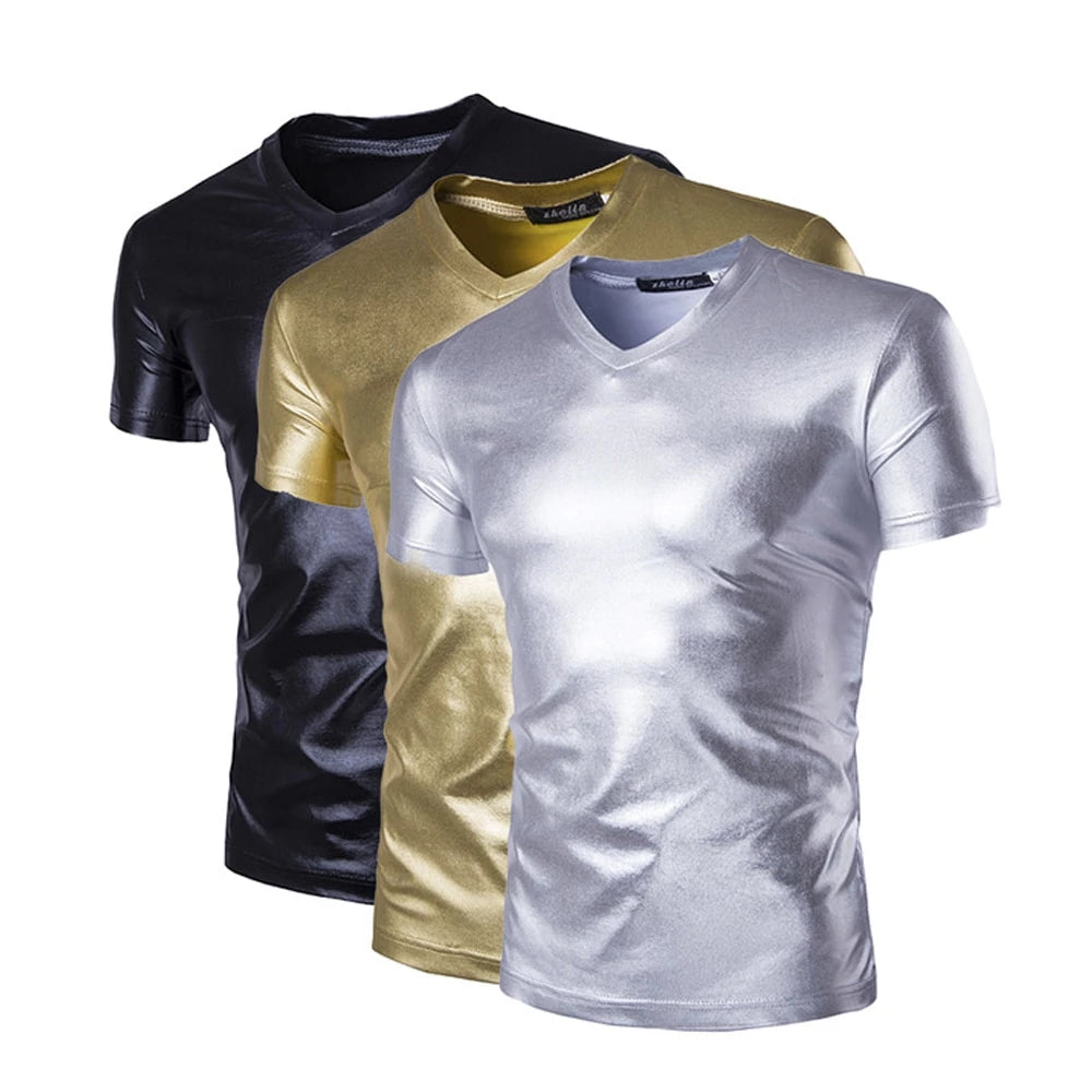 Faux Leather Metallic Shiny Top