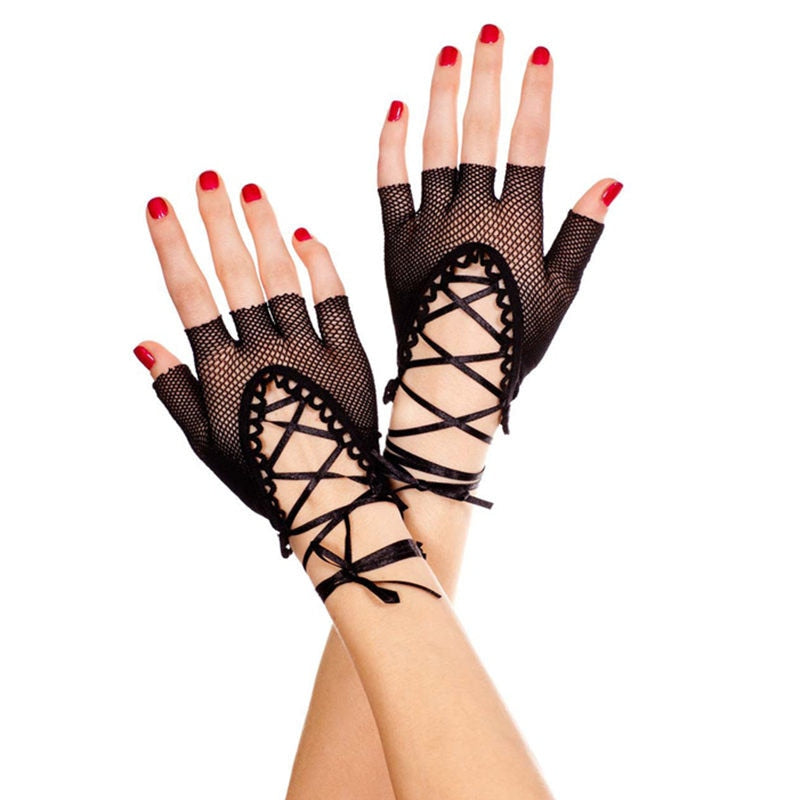 Drag Queen Black Fishnet Fingerless Gloves