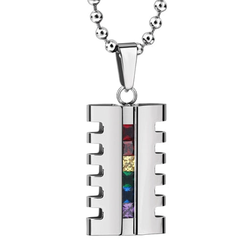 Stainless Steel Gay Pride Crystal Rainbow Necklace