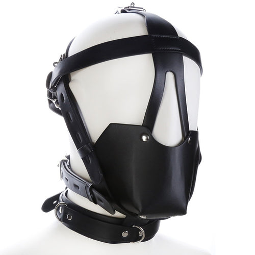 Faux Leather Gag Ball Harness Mask