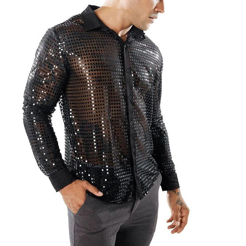 Shiny Sequin Transparent Shirt