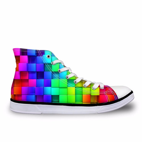Checkered Rainbow High Top Sneakers