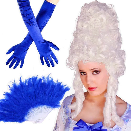Drag Queen Beehive Wig Feather Fan Gloves Set