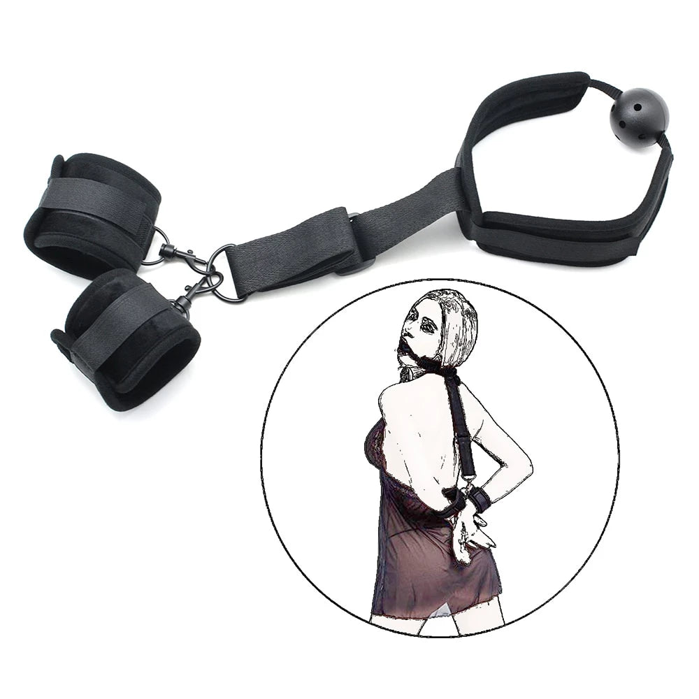 Gag Collar & Handcuffs  Slave Restraint