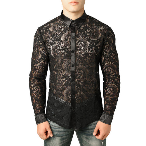 Slim Fit Long Sleeve Lace Shirt