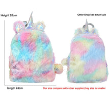 Load image into Gallery viewer, LGBT+ Mini Unicorn Faux Fur Backpack