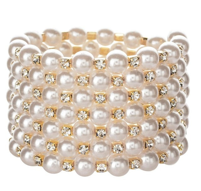 Drag Queen Faux Pearls Adjustable Bracelet