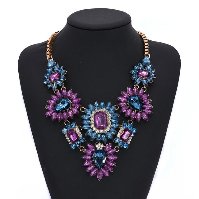 Drag Queen Crystal Flower Necklace