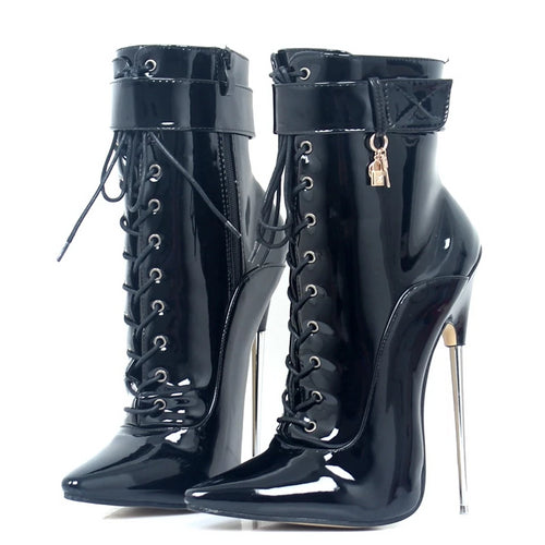 Lockable  Pointy Toe Dagger Ankle Boots