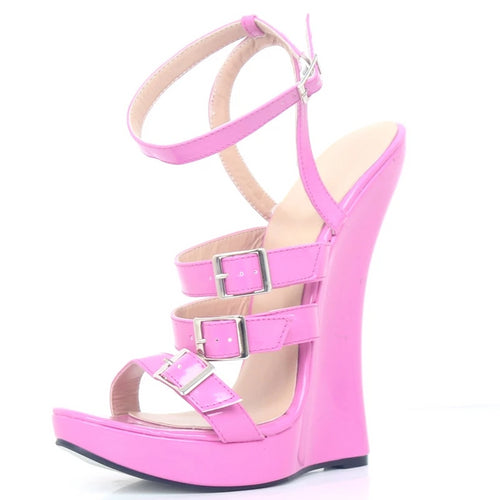 Wedge High Heel Ankle Strap Sandals