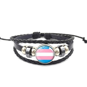Gay Pride Rainbow Leather Bracelet