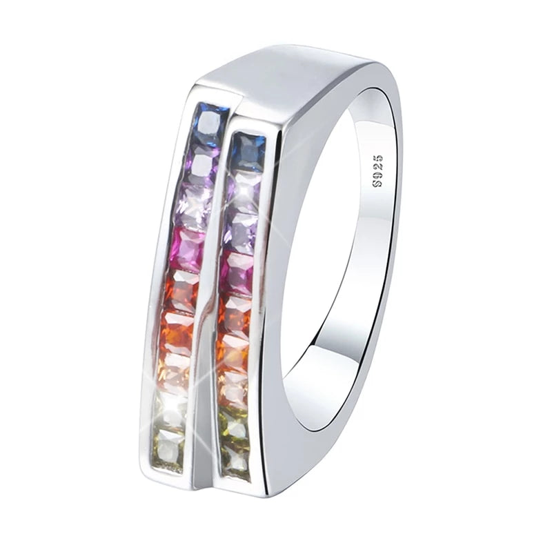 Two Rows Rainbow Crystal Ring