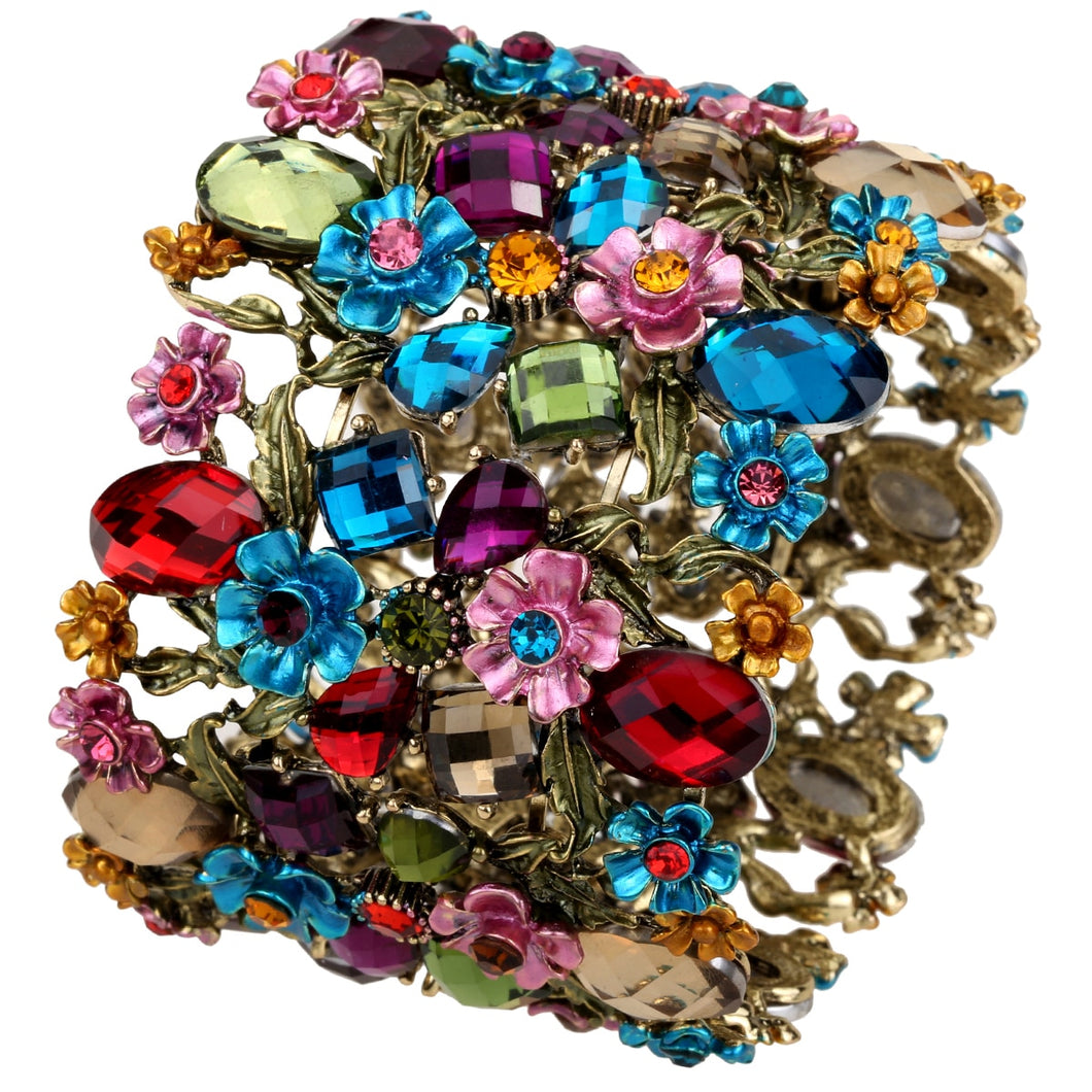 Drag Queen Crystal Flower Stretch Bracelet