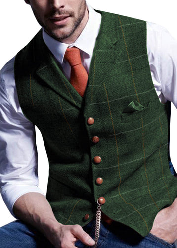 Notched Plaid Wool Herringbone Tweed Vest