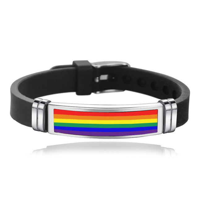 Stainless Steel Gay Pride Buckle Bracelet