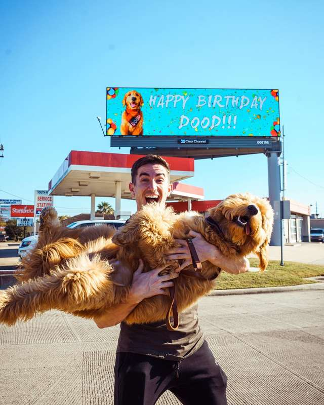 Man Rents Billboard So Everyone Will Know It's His Dog's Birthday