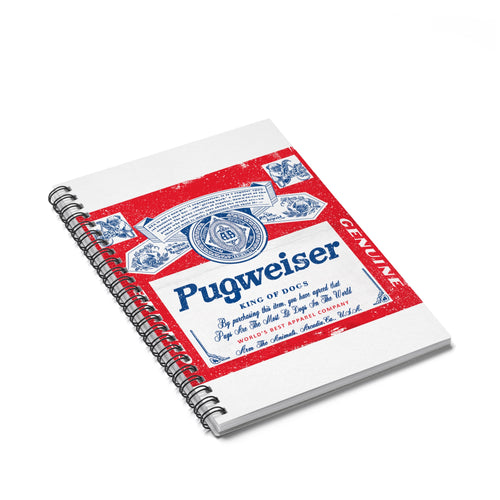 Accessory | Pugweiser Vintage Label | Spiral Notebook - Ruled Line