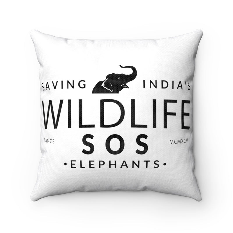 Accessory | WLSOS  Saving Indias Elephants (Black) | Square Pillow