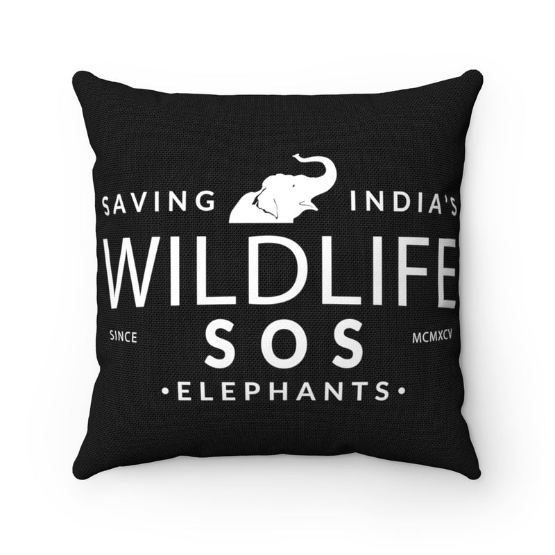 Accessory | WLSOS  Saving Indias Elephants (White) | Square Pillow