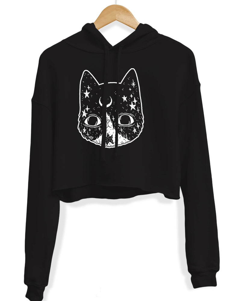 Women's | Crescent Cat | Crop Hoodie