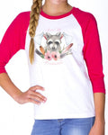 Youth Girls | Woodland Raccoons | Raglan