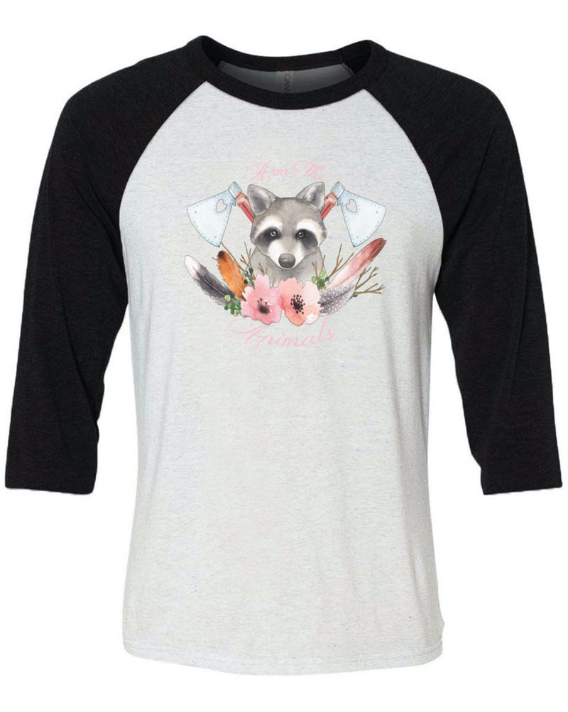 Men's | Woodland Raccoon | 3/4 Sleeve Raglan