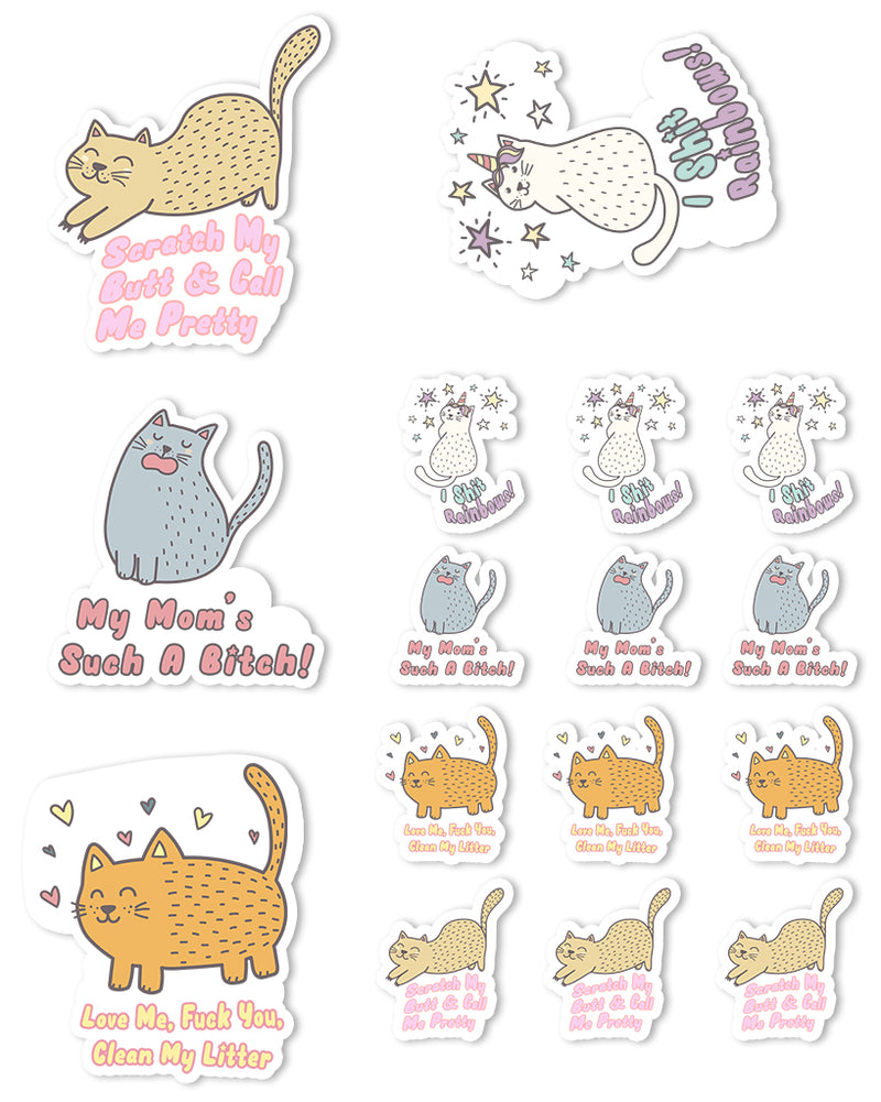 Stickers | Obscene Cats | Die Cut Sticker Set (16)