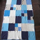 Blue, Turquoise and Grey Cashmere Cot Blanket - Made To Order