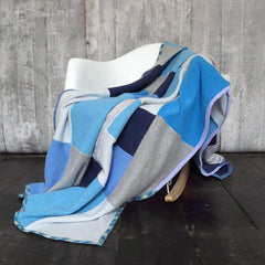 Blue, Turquoise and Grey Cashmere Blanket - Made to Order