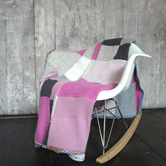 Pink and Grey Cashmere Cot Blanket - Made To Order