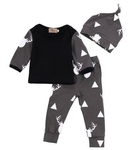2020 Fashion Cute Newborn Infant Baby Girl Boy Deer Tops Long Sleeve Grey T-shirt+Print Leggings Pants Outfit Set 3Pcs Cute Baby