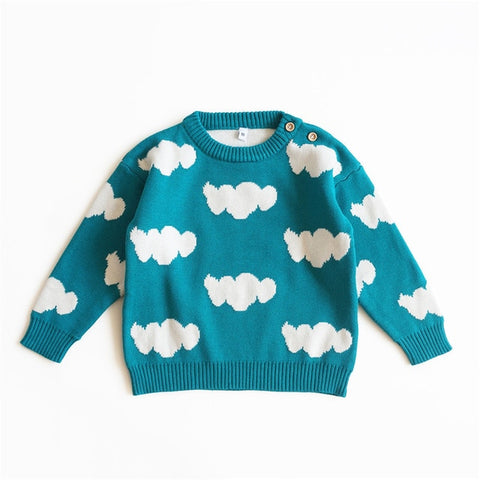 Baby Sweater Autumn Winter Toddler Baby Cardigan Cloud Print Knitting Infant Boys Girls Sweater Cotton Kids Pullover Clothes